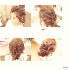 アップスタイル 大人かわいい 編み込み ヘアアレンジ ヘアスタイルや髪型の写真・画像
