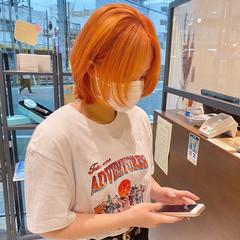 ストリート ニュアンスウルフ ウルフカット オレンジカラー ヘアスタイルや髪型の写真・画像
