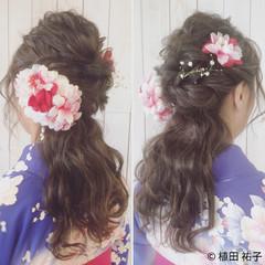 セミロング 波ウェーブ 着物 ハーフアップ ヘアスタイルや髪型の写真・画像