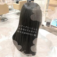 縮毛矯正 ナチュラル ストレート グレージュ ヘアスタイルや髪型の写真・画像
