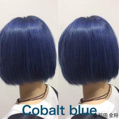 ブルーアッシュ フェス ストリート ブルー ヘアスタイルや髪型の写真・画像