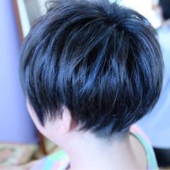 ブルー ショート ネイビー 刈り上げ ヘアスタイルや髪型の写真・画像