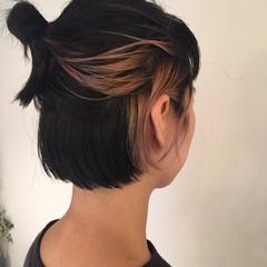 切りっぱなし 簡単ヘアアレンジ モード ボブ ヘアスタイルや髪型の写真・画像