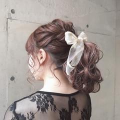 ガーリー ゆるふわ 簡単 ポニーテール ヘアスタイルや髪型の写真・画像