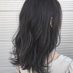 セミロング コンサバ 暗髪 ブラックグレー ヘアスタイルや髪型の写真・画像