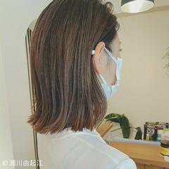 大人かわいい 切りっぱなしボブ ミディアム 秋 ヘアスタイルや髪型の写真・画像