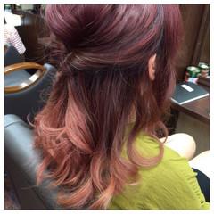 ハーフアップ ガーリー 夏 セミロング ヘアスタイルや髪型の写真・画像