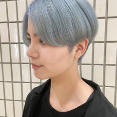 ハンサムショート ブルーアッシュ ショート ナチュラル ヘアスタイルや髪型の写真・画像