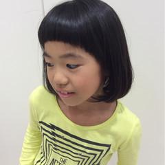 子供 黒髪 ボブ ガーリー ヘアスタイルや髪型の写真・画像