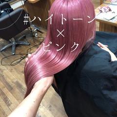 ロング ピンク ベリーピンク ハイトーン ヘアスタイルや髪型の写真・画像