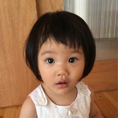 子供 斜め前髪 ナチュラル ボブ ヘアスタイルや髪型の写真・画像