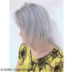 切りっぱなし シルバー シルバーアッシュ 外国人風 ヘアスタイルや髪型の写真・画像