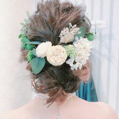 冬 結婚式 ヘアアレンジ ロング ヘアスタイルや髪型の写真・画像