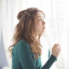 大人かわいい ヘアアレンジ セミロング ヘアスタイルや髪型の写真・画像