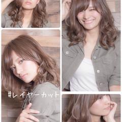 フェミニン レイヤースタイル レイヤー レイヤーカット ヘアスタイルや髪型の写真・画像