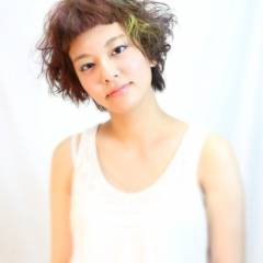 アッシュ オレンジ イエロー ピンク ヘアスタイルや髪型の写真・画像