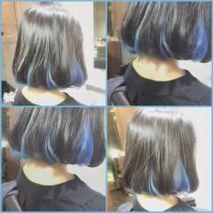 外国人風 ボブ 黒髪 グラデーションカラー ヘアスタイルや髪型の写真・画像