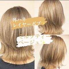 ブリーチ モード ミルクティーベージュ ミディアムレイヤー ヘアスタイルや髪型の写真・画像
