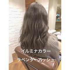 セミロング デジタルパーマ パーマ イルミナカラー ヘアスタイルや髪型の写真・画像