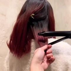 レッド ピンク ミディアム ラベンダーピンク ヘアスタイルや髪型の写真・画像