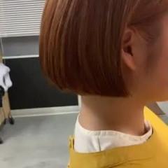 オレンジカラー ミニボブ ブリーチカラー ボブアレンジ ヘアスタイルや髪型の写真・画像