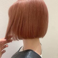 ガーリー ピンク 切りっぱなしボブ ミニボブ ヘアスタイルや髪型の写真・画像