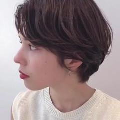 ハンサムショート 大人かわいい 暗髪 ショート ヘアスタイルや髪型の写真・画像