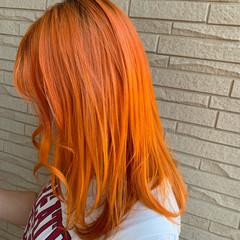 オレンジカラー ロング コリアンカラー モード ヘアスタイルや髪型の写真・画像