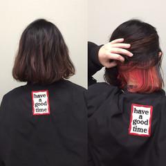 ボブ ハーフアップ フェミニン ミルクティー ヘアスタイルや髪型の写真・画像