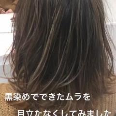 黒髪 ミディアム ガーリー ハイライト ヘアスタイルや髪型の写真・画像
