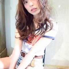 外国人風 ストリート マルサラ セミロング ヘアスタイルや髪型の写真・画像