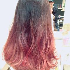 ベージュ ロング ガーリー グラデーションカラー ヘアスタイルや髪型の写真・画像