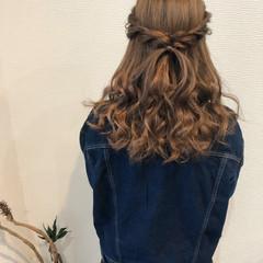 ブライダル セミロング ハーフアップ ヘアセット ヘアスタイルや髪型の写真・画像