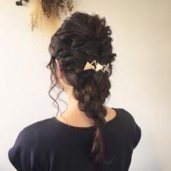 女子会 編み込み 結婚式 フェミニン ヘアスタイルや髪型の写真・画像