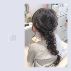 セミロング ヘアアレンジ ショート 子供 ヘアスタイルや髪型の写真・画像