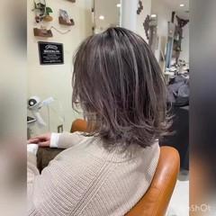 ボブ ミルクティーベージュ フェミニン バレイヤージュ ヘアスタイルや髪型の写真・画像