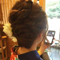 ミディアム ヘアアレンジ 和装 色気 ヘアスタイルや髪型の写真・画像