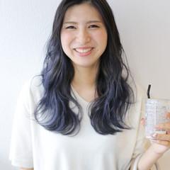 透明感カラー バレイヤージュ セミロング ブルー ヘアスタイルや髪型の写真・画像