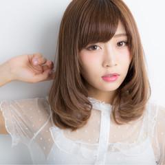 ミディアム デジタルパーマ かわいい 大人かわいい ヘアスタイルや髪型の写真・画像