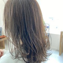 似合わせカット フェミニン 透明感カラー ミディアム ヘアスタイルや髪型の写真・画像