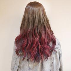 グラデーションカラー ガーリー ロング ハイトーン ヘアスタイルや髪型の写真・画像