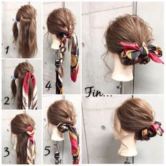 セミロング ヘアアレンジ 簡単ヘアアレンジ ヘアアクセ ヘアスタイルや髪型の写真・画像