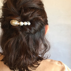 上品 ボブ ヘアアレンジ ハーフアップ ヘアスタイルや髪型の写真・画像