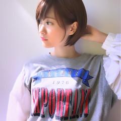 アッシュ ショートボブ ナチュラル ショート ヘアスタイルや髪型の写真・画像