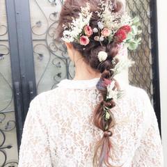 結婚式 編みおろし ロング ヘアアレンジ ヘアスタイルや髪型の写真・画像