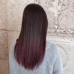 ベリーピンク グラデーションカラー ロング ピンクブラウン ヘアスタイルや髪型の写真・画像