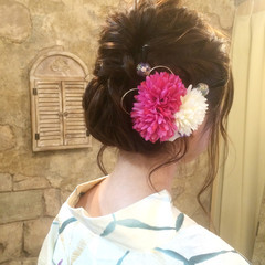 成人式 和装 セミロング シニヨン ヘアスタイルや髪型の写真・画像