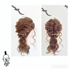 くるりんぱ フィッシュボーン セミロング 編み込み ヘアスタイルや髪型の写真・画像