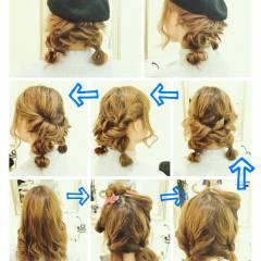 編み込み まとめ髪 ヘアアレンジ フェミニン ヘアスタイルや髪型の写真・画像