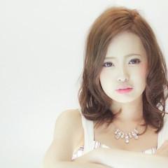 ガーリー セミロング カール 渋谷系 ヘアスタイルや髪型の写真・画像